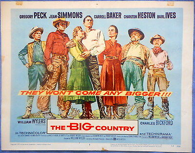 THE BIG COUNTRY Title Card Gregory Peck Charlton Heston Jean Simmons 1958