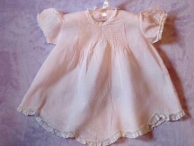 Stunning Pink Linen and Lace Antique Baby Dress * NB * 0-3 months