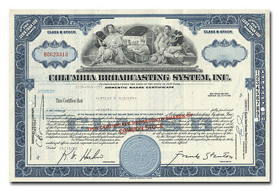 Columbia Broadcasting System, Inc. (CBS) Stock Certificate