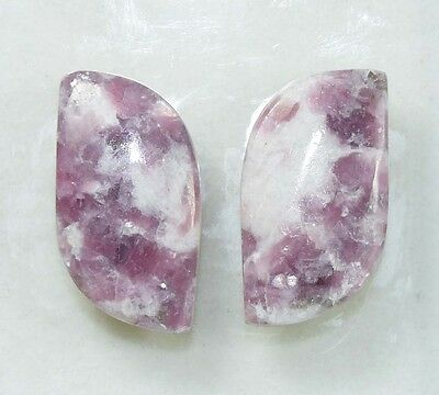 Pair  26.25  Cts. 100 % Natural Lepidolite Untreated  Fancy Cab Loose Gemstones