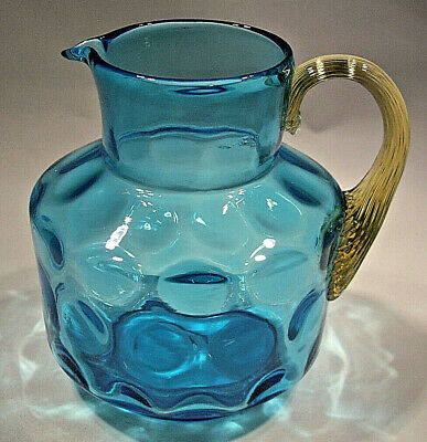 Hand Blown Inverted Thumb Print Pitcher with Amber Reeded Handle Polished Pontil
