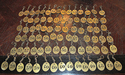One Antique French Brass Numbered Key Tag Fob on Chain From Hotel Choose Number