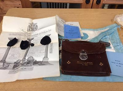 Old Masonic Leather Satchel . Apron and other items