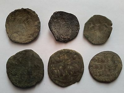 Byzantine bronze coins -uncleaned,lot 6pcs.