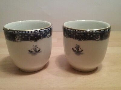 Ringtons Vintage Collectable Blue and White Egg Cups x 2