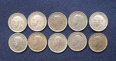 Ten George V Silver Threepence Coins - 1930 to 1936