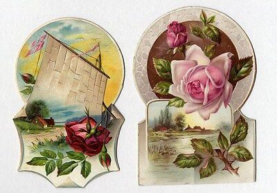 DIE CUT ROSE and Country Victorian Scene Greeting Cards 1880's - Sail Boat