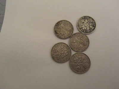 QUEEN ELIZABETH 11 1957 5 LUCKY SIXPENCES  60th BIRTHDAY  ANNIVERSARY GIFT