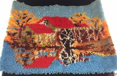 Completed Latch Hook Rug Wall Hanging Old Mill Autumn Fall Waterwheel 27 x 20 FS