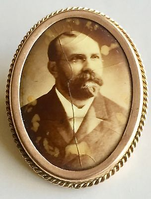Antique 1880's Victorian Gold Filled Photo Picture Mourning Brooch Pin Memorial
