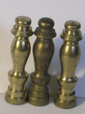 """Set of 3 vintage/antique Solid brass metal lamps finial 2"""" high"""