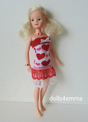 Vintage SINDY Doll Clothes Handmade OOAK DRESS & JEWELRY Fashion NO DOLL d4e