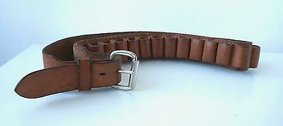 Vintage Military Cartridge Belt Dark Tan Leather Size 40