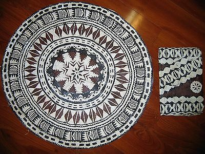 """Vintage Round South Pacific Tapa Cloth 24"""" & Pouch 7""""x10.5"""""""