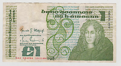 Bank Of Ireland One Pound/Punt Note Queen Meob. Serial Number GAI 584984 15/11/8