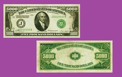 USA 1928. 5000 Federal Reserve Note.  UNC - Reproductions