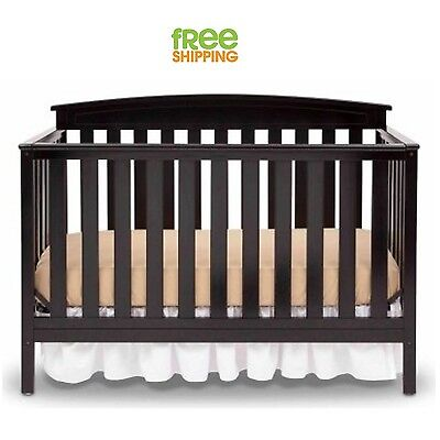 Convertible Baby Bed Full Crib Infant Nursery Furniture Toddler Infant Black New
