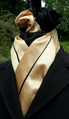 Ready Tied Gold and Black Satin Riding Stock and Scrunchie - Show Tie