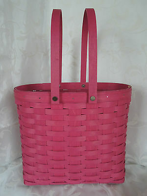 LONGABERGER~2015~Large Tote Basket & Protector~BRIGHT PINK~Ready to Ship~NEW!