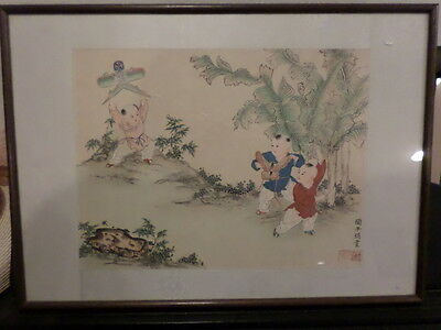Vintage Original Chinese Framed Watercolor By Artist Yan, ZiYing (閻子瑛)