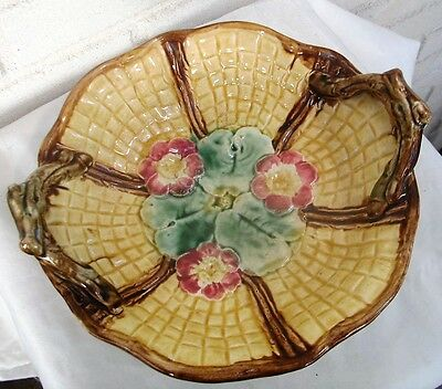 Antique Majolica Basketweave & Floral Footed Handled Compote Great Colors