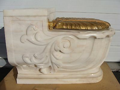 Sherle Wagner Marble Nautilus Hand Carved Italian Marble Shell Toilet Cover 60's
