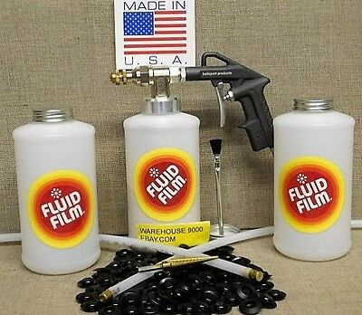 Fluid Film Undercoating Pro Spray Gun Kit with Wands 100 Rust Plugs & Drill Bit