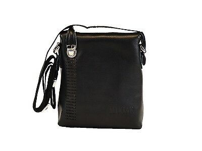 Men's Leather Messenger Bag Briefcase Shoulder Bag (Black)