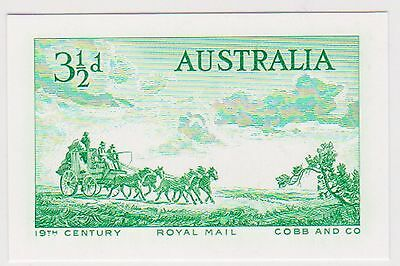 (ABE-20)2005 AU proof of 1955 3½d Cobb&Co coaching engraved stamp of Au in Green