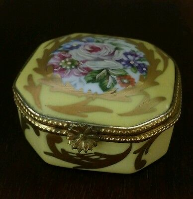 Yellow Gold Handpainted Floral Limoges France Trinket Box Rehausse Main