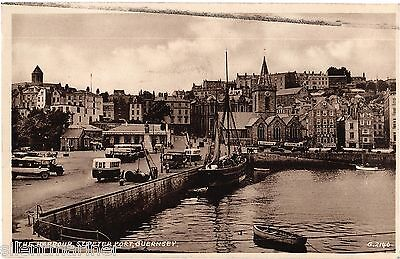 Guernsey, St. Peter Port Harbour, old sepia postcard, posted 1957