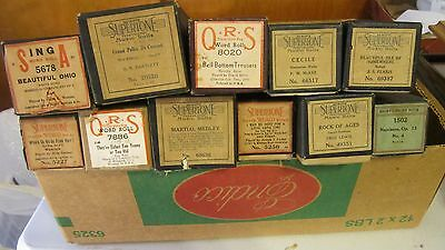 Vintage Player Piano Rolls 11 Supertone Perforated Music Rolls & Q-R-S. Rolls