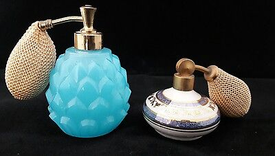 Vintage Pineapple Shape Blue Opaque Glass Perfume Bottle & Small China Atomiser