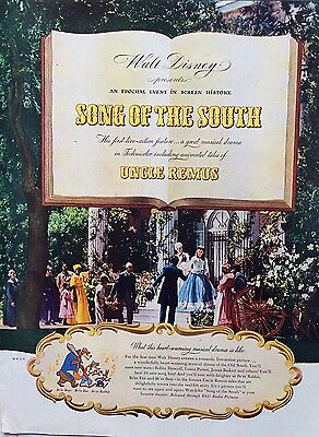 1946 WALT DISNEY - SONG OF THE SOUTH - Magazine Ad