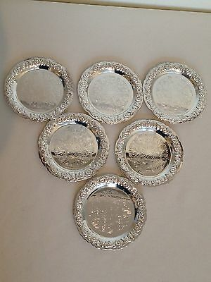 Set of 6 Ornate Etched Coasters Silver Coloured - made in England