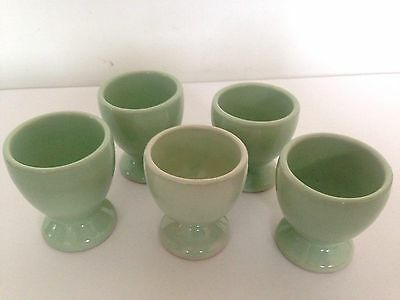 Vintage Lovatts Langley Green Stoneware Egg Cups x5