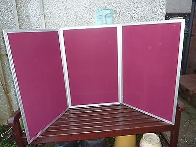 Portable 3 panel aluminium folding display board with carrying strap and cover.