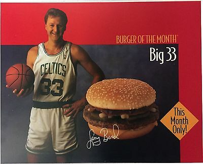 Larry Bird Mcdonalds Advertising Cell Acetate Poster Burger Of The Month Rare!