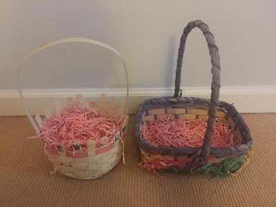 2 Vintage Old Easter Baskets Wicker Woven Multi Color