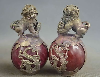 Collection Handwork Old Miao Silver Carve Lion Inlay Agate Exorcism Lucky Statue