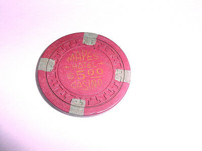 Obsolete $5 Clay Chip~MAPES Hotel Casino~T's Mold~ Brick Color