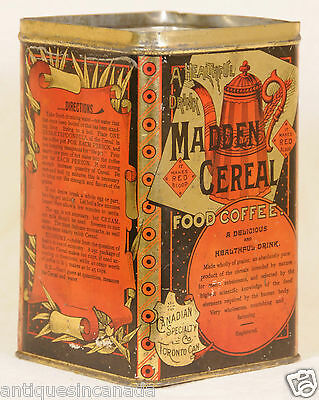 Antique Canadian Specialty Co. Madden Cereal Coffee Tin Can Litho Toronto