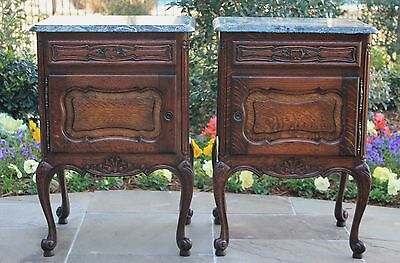 Antique French PAIR Oak Marble Top Cabinets Nightstands End Tables Rococo Style