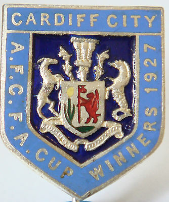 CARDIFF CITY Very rare vintage 1927 FA CUP WINNERS Badge Stick pin 25mm x 30mm