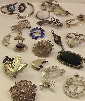 Antique Vintage Victorian Mexican Sterling Silver Gold Filled Mixed Lot 21 Piece