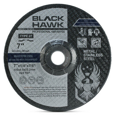 "10 Pack - 7"" x 1/4"" x 7/8"" Black Hawk Grinding Wheels T27 Discs for Metal"