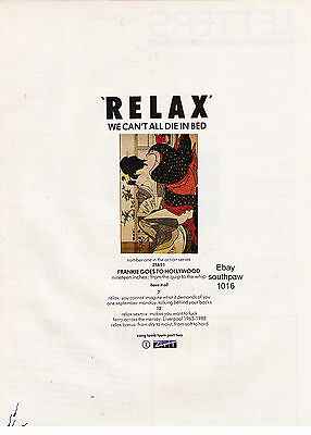 """1982 Frankie Goes To Hollywood """"Relax"""" Record Classic U.K. Print Advertisement"""