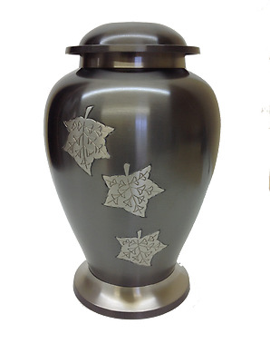 Funeral cremation urn Gray with silver engraved maple leaves Urne funéraire