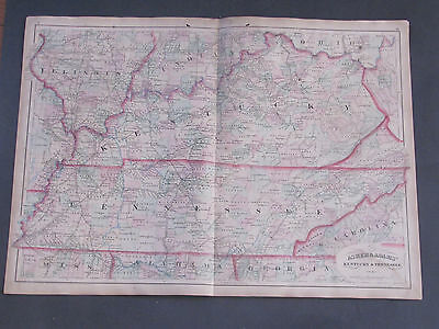 1873 Asher and Adams Kentucky and Tennessee Map