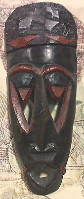 Large 14 Inch Tall Two-Tone Red And Black Wooden Hand-Carved African-Style Mask